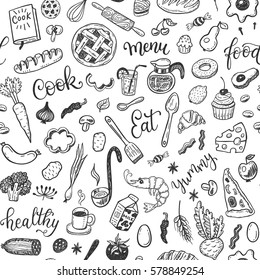 Seamless vector pattern with hand drawn doodle food set.
