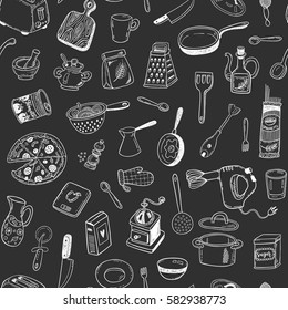 Seamless vector pattern with hand drawn sketch kitchen stuff on a blackboard background
