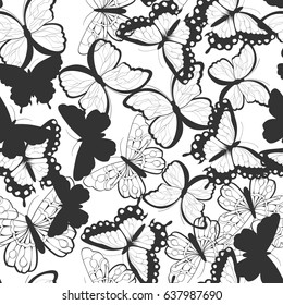 Seamless vector pattern with hand drawn silhouette butterflies, black and white, vector illustration
