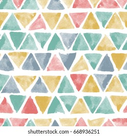 Seamless vector pattern with hand drawn watercolor triangles. Naive background with spots. Vector seamless background with tribal or folk motif.
