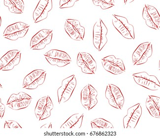 Seamless vector pattern with hand drawn line art sketch of red kiss lips on white background