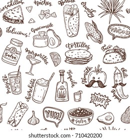 Seamless vector pattern with hand drawn Mexican food.