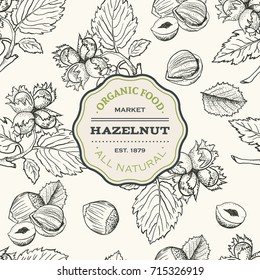 Seamless vector pattern with hand drawn hazelnut. Branch, leaves and fruits. Sketches of nuts in vintage style