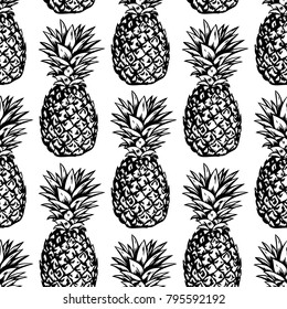 Seamless vector pattern with hand drawn pineapples on white background.