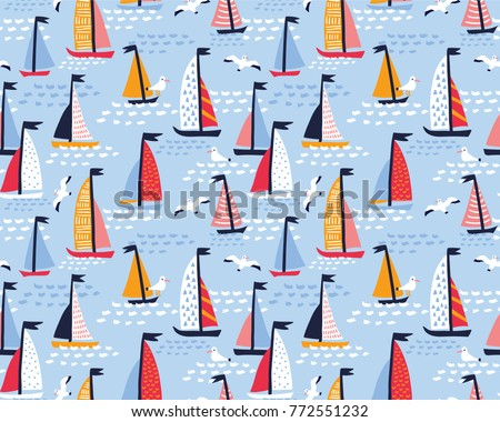 Seamless vector pattern with hand drawn sailing yachts and seagulls. Summer bright background for fabric design.