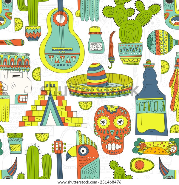 Seamless Vector Pattern Hand Drawn Mexican Stock Vector