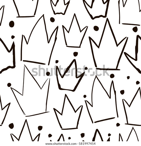 Seamless vector pattern with hand drawn black crowns. Creative fabric design.
