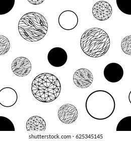 Seamless vector pattern with hand-drawn circles texture. Abstract black circles on white background. Monochrome creative illustration.