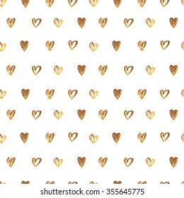 Seamless vector pattern with hand-drawn hearts with gold sequins
