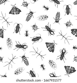Seamless vector pattern with hand-drawn insects in black and white. Ladybug, cicada, stick insect, ant, rhinoceros beetle, moth.  For wrapping paper, fabric, textile, wallpaper, background