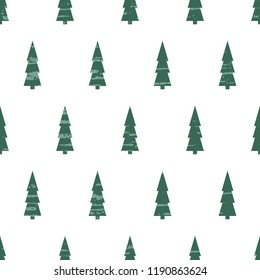 Seamless vector pattern from a handmade, artistic, green Christmas tree on a white background. Gentle illustration of a New Year, with old vintage texture. Beautiful tile, wrap, cover, textiles, post