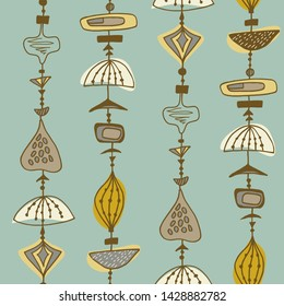 Seamless vector pattern with hanging abstract doodles  in retro midcentury style.