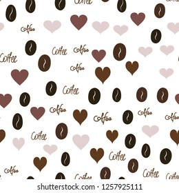 Seamless Vector Pattern with Heart, text and coffee. Elements are not cropped. Pattern under the mask. Perfect design for textile, box, posters, cards, web etc.