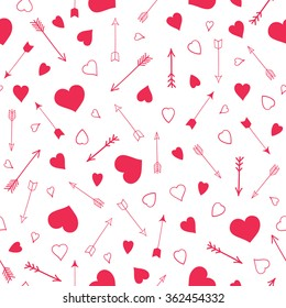 Seamless vector pattern with hearts and arrows. Valentines day design