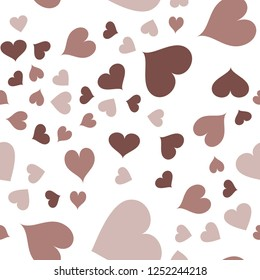 Seamless Vector Pattern with Hearts  in chocolate color. Elements are not cropped. Pattern under the mask. Perfect design for textile, box, posters, cards, web etc.