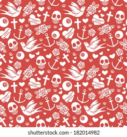 Seamless vector pattern with  hearts, roses, sculls, ribbons, swallow, anchors. Rockabilly style.