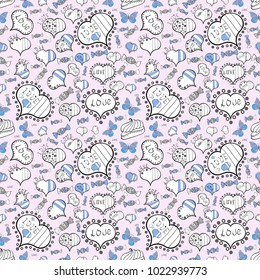 Seamless vector pattern with hearts. Template for wrapping, backgrounds, textile, print. Drawing in sketch style on neutral, white and black colors. Background with hand drawn symbols.