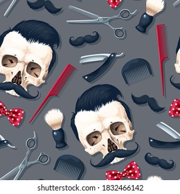 Seamless vector pattern with high detailed barber shop supplies