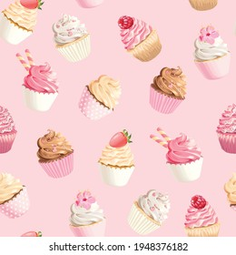 Seamless vector pattern with high detailed pastel pink and white cupcakes