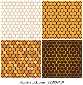 Seamless vector pattern of honey cells, combs. Set of four 4 patterns