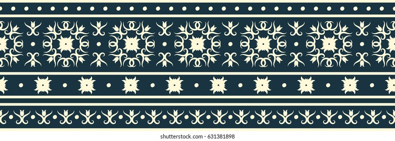 Seamless vector pattern. A horizontal border with beige ornaments on a dark blue background