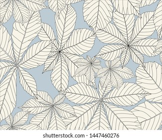 Seamless vector pattern, horse chestnuts leaves. Black and white