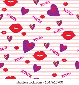 seamless vector pattern hugs and kisses lips hearts valentine with pink stripes