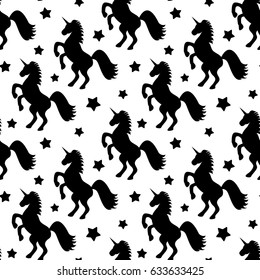 seamless vector pattern illustration with black stars and unicorns on white background