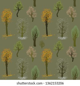 seamless vector pattern with illustrations of trees in four seasons