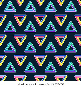 Seamless vector pattern with Impossible figures (Penrose Triangle). Optical illusion. Neon colors. Memphis style.