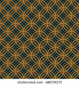 Seamless vector pattern in Indonesian batik style on the brown background.