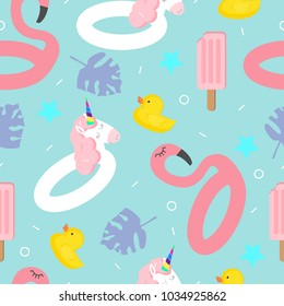 Seamless vector pattern with an inflatable flamingo and unicorn, ice cream and duck on a blue background. Summer bright pattern for textiles, things, fabric, wrapping paper.