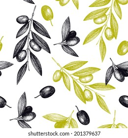 Seamless vector pattern with ink hand drawn olive tree twigs isolated on white. Vintage olive background