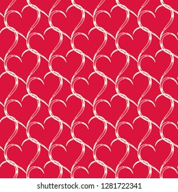 Seamless vector pattern from the intertwining carved hearts on a red background. Valentine's Day. Wedding Day. Pattern share of a wedding greeting card. Vintage style. Endless texture for textile.