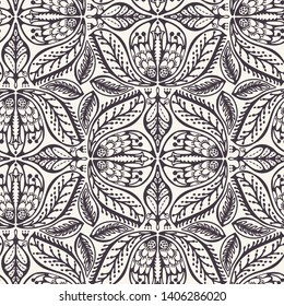 Seamless vector pattern. Intricate quilt style hand drawn flower blooms. Repeating floral tileable background. Ornamental stylized foliage. Monochrome surface design textile, all over print wallpaper