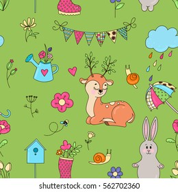 Seamless vector pattern. Isolated objects seamless on a light green background. The background color can be changed. Drawn by hand. Suitable for printing on paper or cloth.