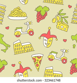 Seamless vector pattern of the Italian icons on a light beige background, hand-drawn.