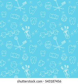 Seamless vector pattern - kawaii dentist, set of hand drawn objects. Cute sketch with doctor, teeth, toothbrush, smile and dental tools
