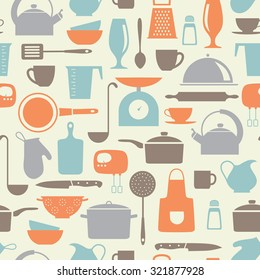 seamless vector pattern with kitchen flat icons