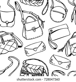 Seamless vector pattern with ladies' bags.