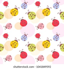 Seamless  vector pattern with ladybugs.  Repeating colorful ladybugs background.