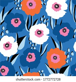 Seamless vector pattern large red white and blue flowers. Repeating floral background Scandinavian style. Use for fabric, wallpaper, 4th of July decor