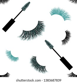 Seamless Vector Pattern with Lashes and Mascara with glitter effect