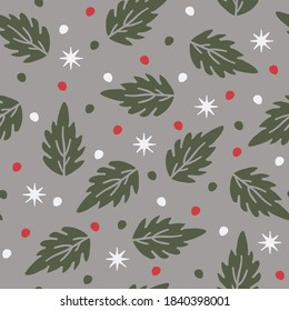 Seamless vector pattern with leaves and dots on grey silver background. Simple winter wallpaper design. Christmas floral fashion textile.