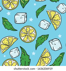 Seamless vector pattern with lemon, ice and green leaves on blue background. Wallpaper, fabric and textile design. Good for printing. Cute wrapping paper pattern with fruits.