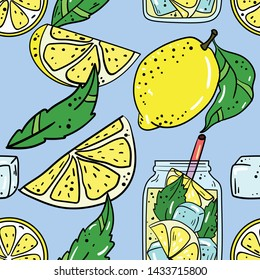 Seamless vector pattern with lemon, lemonade and green leaves on blue background. Wallpaper, fabric and textile design. Good for printing. Cute wrapping paper pattern with fruits.