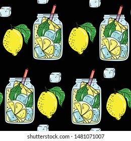 Seamless vector pattern with lemonade, lemons and leaf on black background. Wallpaper, fabric and textile design. Cute wrapping paper pattern with cocktail. Good for printing.