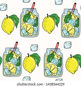 Seamless vector pattern with lemonade, mojito, cocktail, lemon and ice on white background. Good for printing. Wallpaper, fabric and textile design. Cute wrapping paper pattern with fruits.