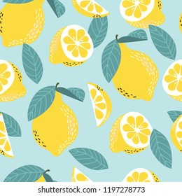 Seamless vector pattern with lemons. Citrus fruit.