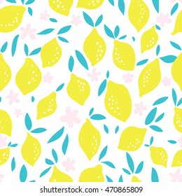 Seamless vector pattern with lemons, leafs and flovers